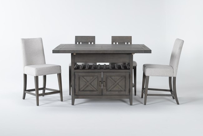 Concord 5 Piece Extension Counter Set With Wood And Upholstered Back Stools - 360