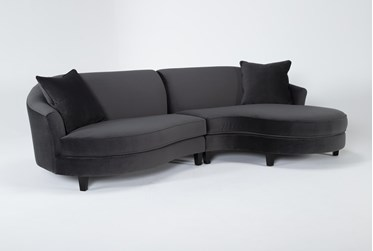 """Getty Velvet 2 Piece 116"""" Sectional Right Arm Facing Chaise"""