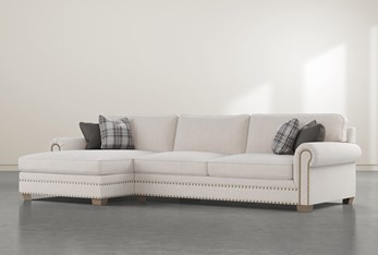 """Chesney 2 Piece 133"""" Sectional With Left Arm Facing Nailhead Chaise"""