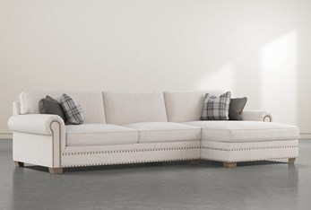 """Chesney 2 Piece 133"""" Sectional With Right Arm Facing Nailhead Chaise"""