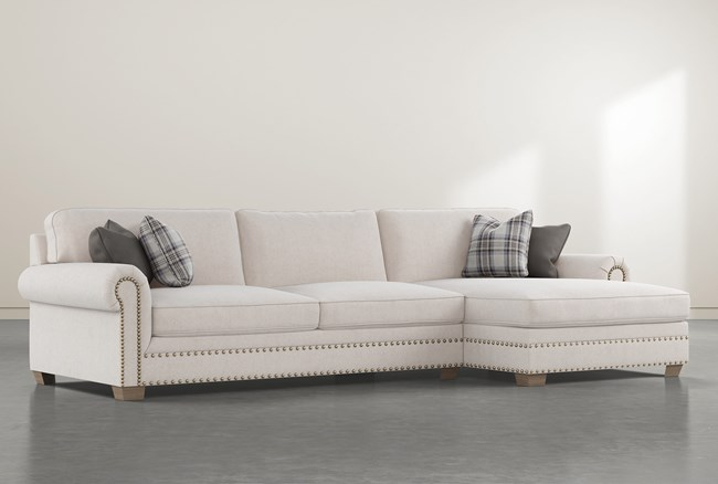 """Chesney 2 Piece 133"""" Sectional With Right Arm Facing Nailhead Chaise - 360"""