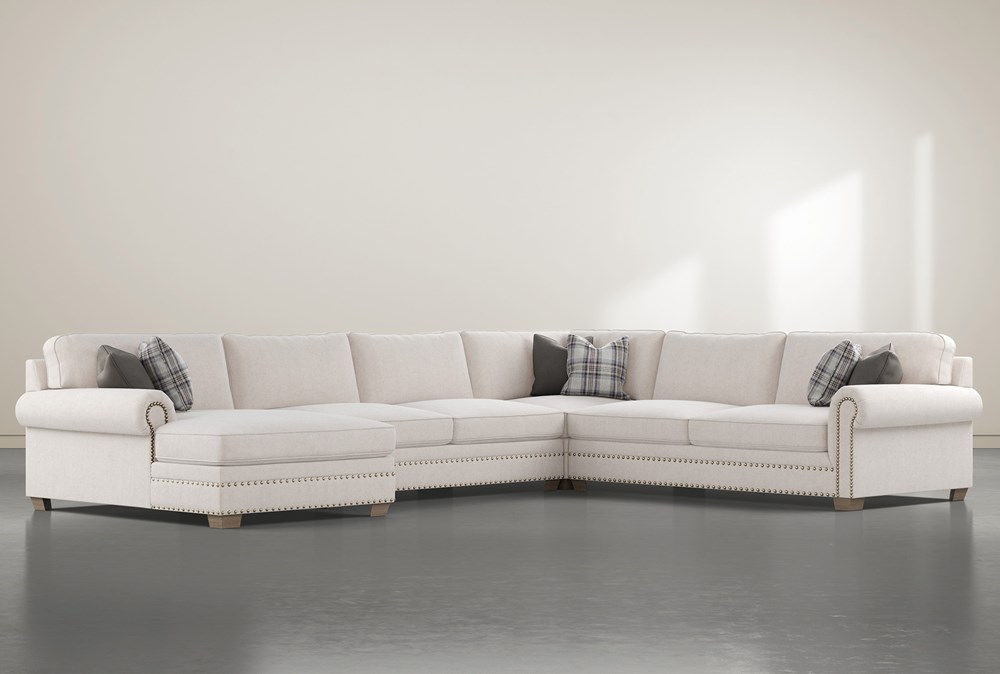 """Chesney 4 Piece 167"""" Sectional With Left Arm Facing Nailhead Chaise"""