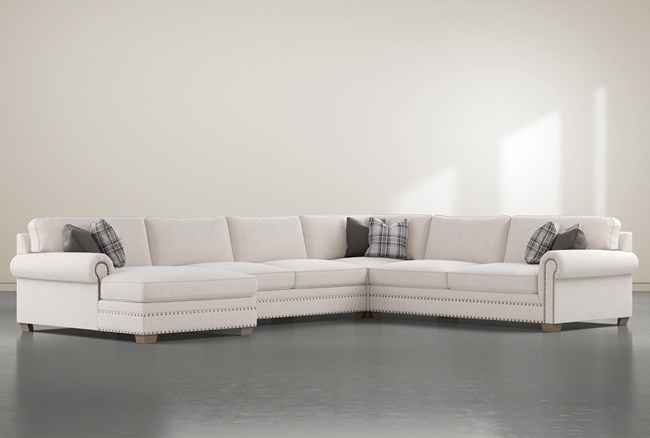 """Chesney 4 Piece 167"""" Sectional With Left Arm Facing Nailhead Chaise - 360"""