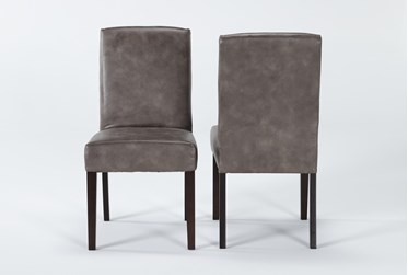 Garten Taupe Dining Side Chair With Espresso Finish Set Of 2