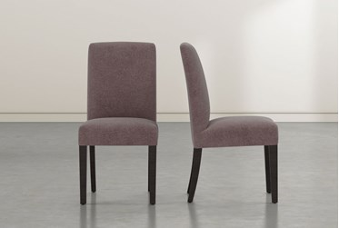Garten Mauve Skirted Dining Side Chair With Espresso Finish Set of 2
