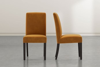 Garten Orange Skirted Dining Side Chair With Espresso Finish Set of 2