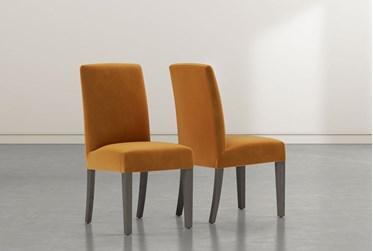 Garten Orange Dining Side Chair with Greywash Finish Set of 2