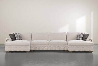 """Chesney 3 Piece 170"""" Sectional With Double Nailhead Chaise"""