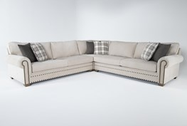 """Chesney 3 Piece 130"""" Nailhead Sectional"""