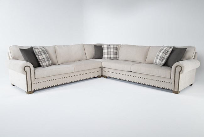"""Chesney 3 Piece 130"""" Nailhead Sectional - 360"""
