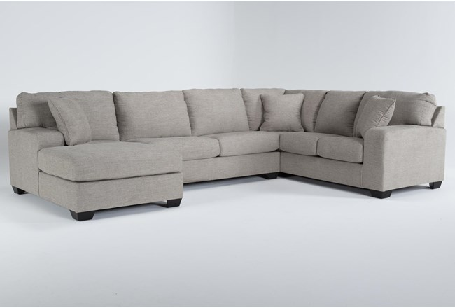 """Bryton Jute 3 Piece 141"""" Sectional With Left Arm Facing Chaise - 360"""