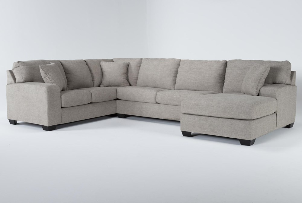 """Bryton Jute 3 Piece 141"""" Sectional With Right Arm Facing Chaise"""