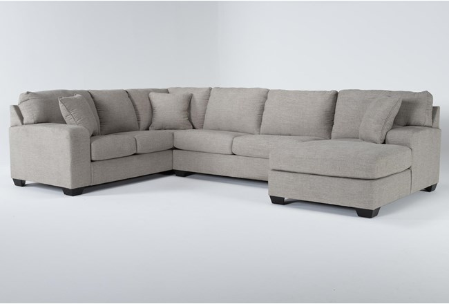 """Bryton Jute 3 Piece 141"""" Sectional With Right Arm Facing Chaise - 360"""