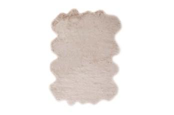 72X90 Oval Rug-Faux Fur Shag Beige