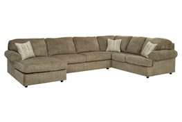 """Hoylake Chocolate 3 Piece 143"""" Sectional With Left Arm Facing Chaise"""