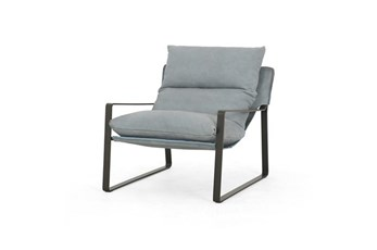 Dusty Blue Leather Sling Chair