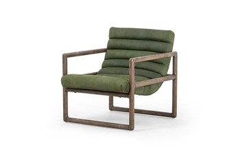Moss Channel Leather Accent Chair