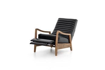 Black Leather + Wood Frame Recliner