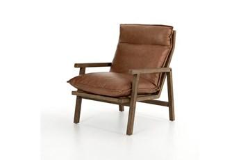Saddle Leather Ladder-Back Wood Frame Chair