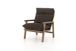 Charcoal Nubuck Ladder-Back Wood Frame Chair