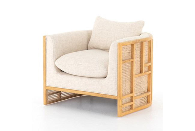 Natural Oak Wood Frame + Cane Chair - 360