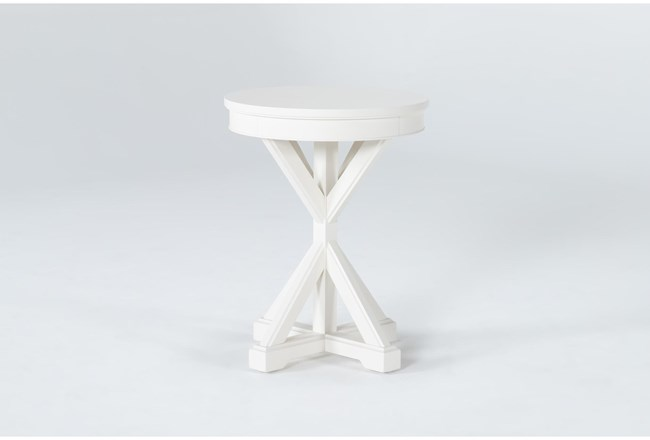 Presby White Round Accent Table - 360