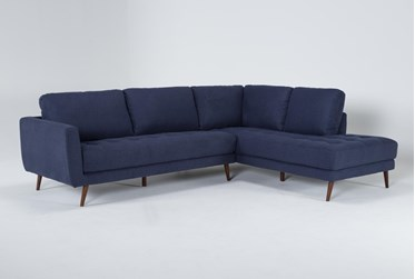 """Ginger Denim 2 Piece 110"""" Sectional With Right Arm Facing Chaise"""