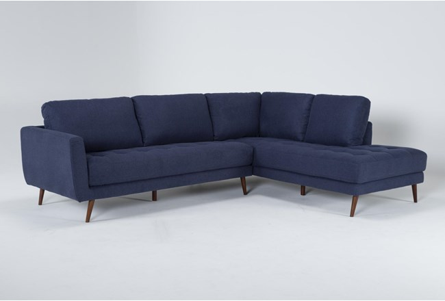 """Ginger Denim 2 Piece 110"""" Sectional With Right Arm Facing Chaise - 360"""