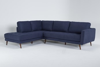 """Ginger Denim 2 Piece 110"""" Sectional With Left Arm Facing Chaise"""