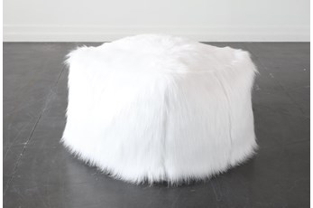 White Faux Fur Square Stool