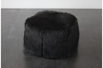 Black Faux Fur Square Stool