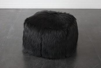 Black Faux Fur Square Stool