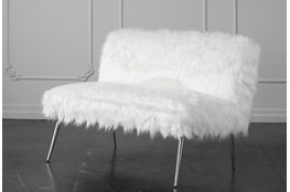 "White Faux Fur 46"" Loveseat With Shiny Silver Legs"