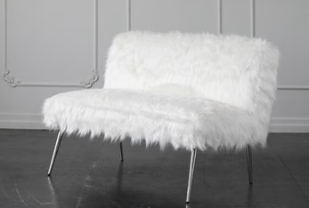 """White Faux Fur 46"""" Loveseat With Shiny Silver Legs"""