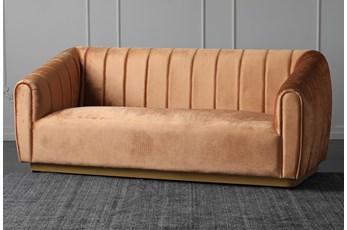 """Orange Velvet 83"""" Sofa With Gold Base"""