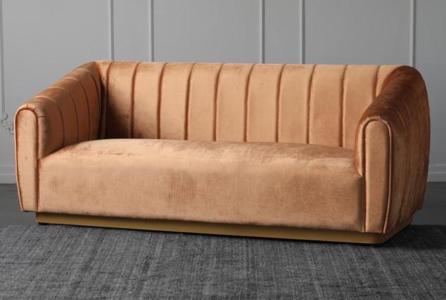 """Orange Velvet 83"""" Sofa With Gold Base - 360"""