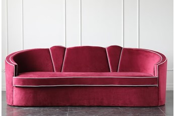 "Burgundy Velvet 91"" Sofa With Light Blue Piping"