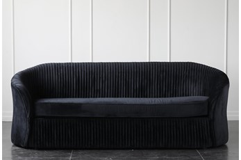 "Black Velvet Pleated 87"" Sofa"