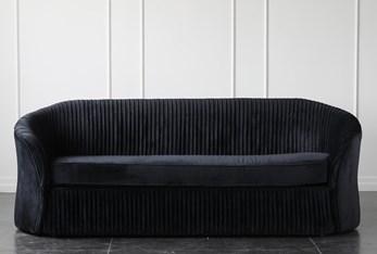 """Black Velvet Pleated 87"""" Sofa"""