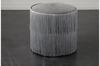 Grey Fringe Stool