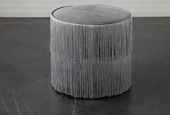 Grey Fringe Stool