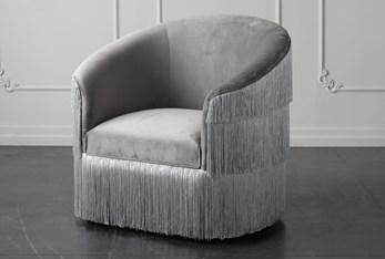 "Grey Fringe 37"" Chair"