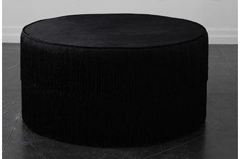 Black Fringe Ottoman