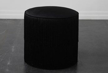 Black Fringe Stool