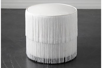 White Fringe Stool