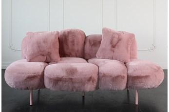 "Blush Velvet 78"" Sofa With Two Pillows"