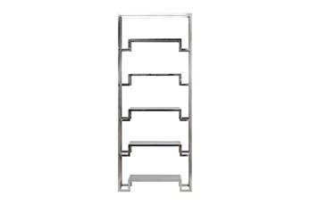 """Shiny Silver Small 87"""" Bookcase"""