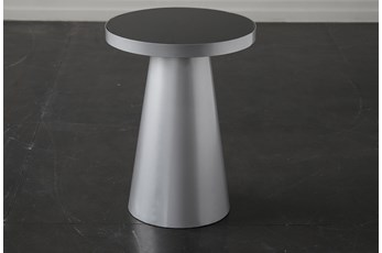 Smoke Glass + Silver End Table