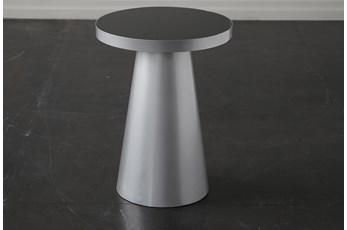Smoke Glass + Silver End Table