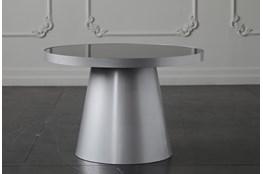 Smoke Glass + Silver Coffee Table